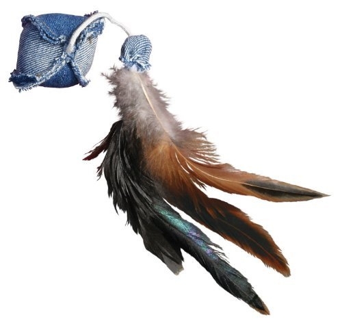 See KONG Denim Ball with Feathers Catnip Toy