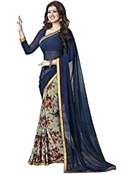 Radadiyatrd Women's Georgette Saree (Ayesha Blue Flower Color Saree_Blue)
