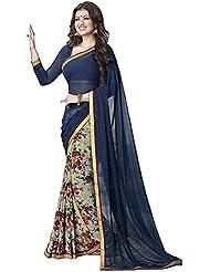 Radadiyatrd Women's Georgette Saree (Ayesha Blue Flower Color Saree_Blue)