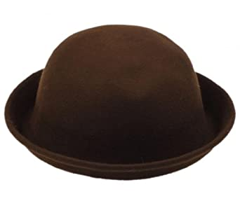 Gem Vintage Fashion Warm Wool Women's Cute Lady Hat Trendy Bowler Derby Hat Men's Cloche Cap (#4 Dark Brown)