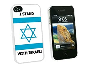 Graphics and More I Stand With Israel - Pro Israeli Jewish Support - Snap On Hard Protective Case for Apple iPhone 4 4S - White - Carrying Case - Non-Retail Packaging - White