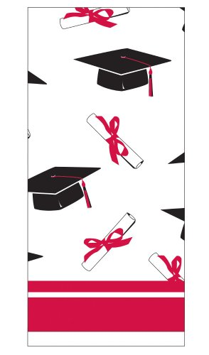 Creative Converting School Colors Paper Art Square Graduation Party Plastic Table Cover, Red