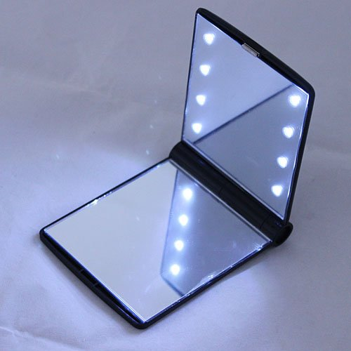 Leexgroup® New Mini Protable Pocket Makeup Cosmetic Mirror With 8 Led Lights Black