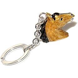 Portachiavi uomo o donna KeyRing testa di cavallo smalto a fuoco realizzato a mano , tutto Argento 925 27,90 gr - equitazione