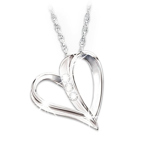 My Daughter, My Heart, My Love 3-Diamond Pendant Necklace by The Bradford Exchange
