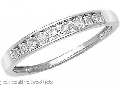 J R Jewellery 409536 9ct White Gold Illusion Set Diamond Half Eternity Ring 0.06CTW