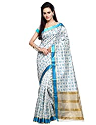 Inddus Women Off White Colored Block Printed Tussar Silk Traditional Saree