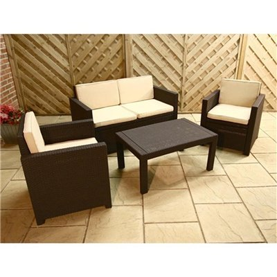 Allibert Victoria Lounge Rattan Style 4 Seater Garden / Conservatory Furniture Set