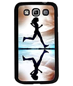 Fuson Premium Running Girl Metal Printed with Hard Plastic Back Case Cover for Samsung Galaxy Grand Quattro i8550 i8552