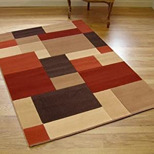 Large Modern Patina Rug Blocks Brown Terracotta Red Beige 1.4m x 2.0m (4'6 x 6'6 approx)