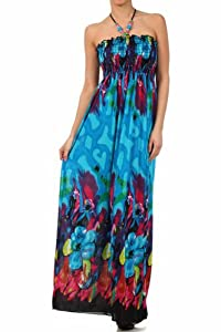 Sakkas Spring Floral Beaded Halter Smocked Bodice Maxi Dress