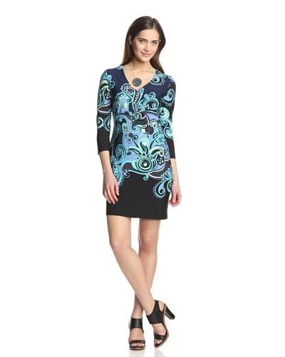 Donna Morgan Women's Printed V-Neck Dress
