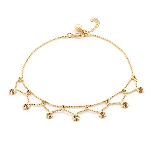 Pugster Topaz Yellow Crystal 18k Gold Plated Bell And Flowers Ankle Bracelet For Women