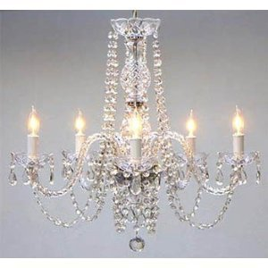 AUTHENTIC ALL CRYSTAL CHANDELIER CHANDELIERS LIGHTING Ceiling Light Lamp Hanging Fixture 230V H 63.00 cm X W 61.00 cm by The Gallery