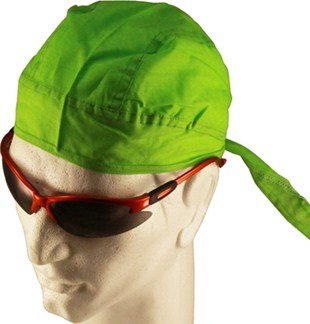 Solid LIME GREEN BRIGHT GREEN NEON GREEN Head Wrap Headwrap AKA Bikers Cap, DuRag, Doo Rag, Wrap Bandana, Bandanna 100% Lightweight Cotton Easy to Use Under Baseball Caps, Motorcycle or Football Helmets, Running, Jogging, Exercising, Gardening, Cleaning to Keep Hair Out of the Face and Absorb Sweat or For Natural Balding or Use During Chemo Cancer Treatments