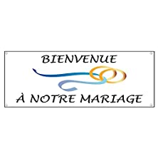 buy Welcome To Our Wedding In French Wedding Rings Vinyl Banner Sign W/ Grommets 4 Ft X 8 Ft