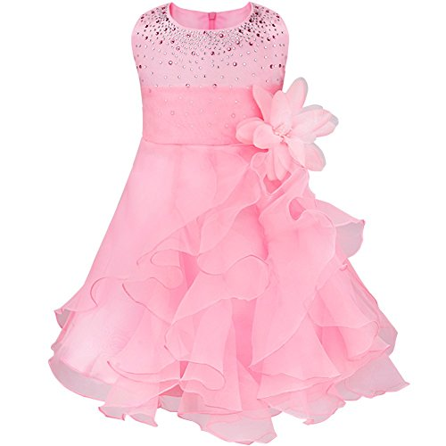 FEESHOW Baby Girls Rhinestone Organza Flower Christening Baptism Party Dress Pink 12-18 Months