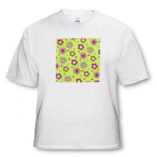Groovy Flower Retro 70s Print Design Green Pink Green Yellow - Adult T-Shirt 3XL