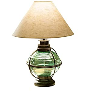 Ship's Bouy Style Caged Onion Lamp w/ Shade, Light Green - Table Lamps