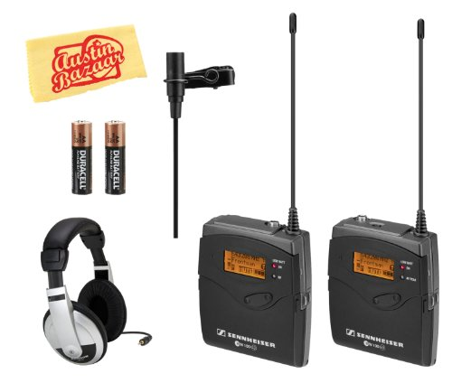 Sennheiser Ew 112 G3-A Sk100 Wireless Microphone System Bundle With Headphones, Batteries, And Polishing Cloth