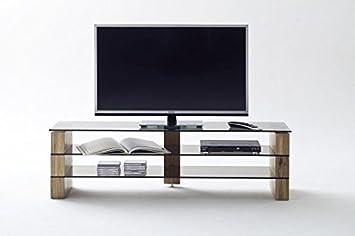 TV-lowboard, TV-Board, TV-Tisch, Lowboard kari 140 , Eiche massiv mit Glas