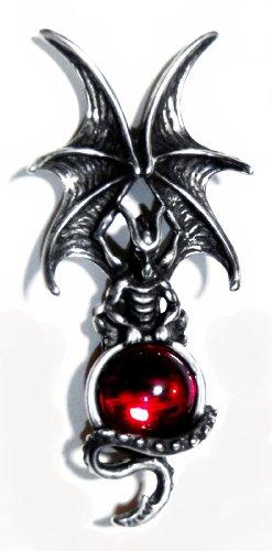 Majestic Dragon Pin with Red Swarovski Crystal