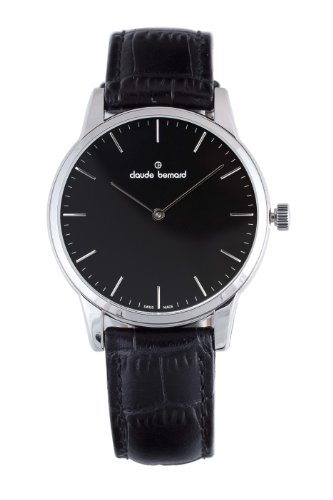 Claude Bernard Men's 20078 3 NIN Classic Gents Black Dial Leather Watch