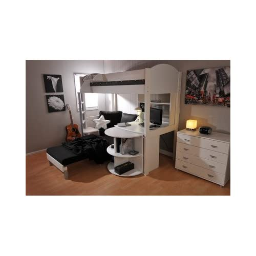 Casa L-Shaped Bunk Bed Cushion Colour: Black, Panel Finish: White, Frame Finish: White
