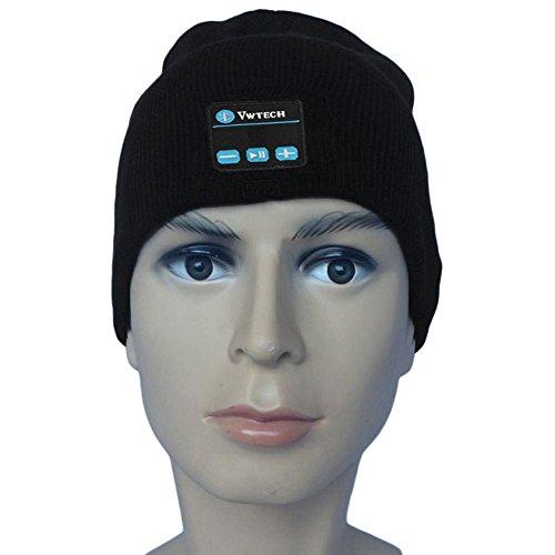 Vwtech® Free Hands Knitted Bluetooth Music Beanie Hat Cap Headphone Headset Earphones Stereo Speakers & Mic (Black)