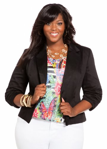Ashley Stewart Women's Plus Size Sateen Ruched Blazer