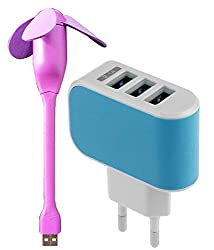 Iceberg Makers Combo of Spider Usb Fan and Universal 3.1A Triple USB 3 Port Wall Home Travel AC Charger (Color may vary as per availability)