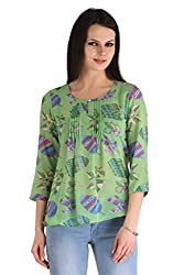 ZAIRE Women's Fashionable Printed 3/4 Sleeves Semi-Georgette Top (1776-3/4TH, Sea Green,XXL)