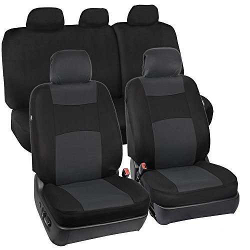 Full Set Black & Charcoal Grey Seat Covers for Car Auto SUV Polyester Cloth - 60/40 Split Rear Bench (2006 Chevy Truck Seat Covers compare prices)