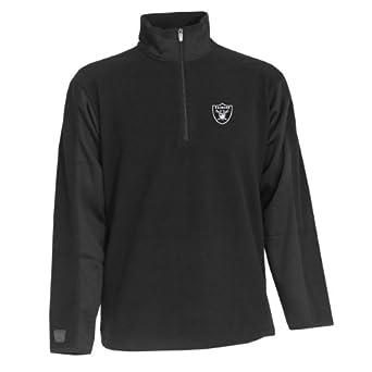 NFL Mens Oakland Raiders Saints 40972 Zip Fleece Pullover by Antigua