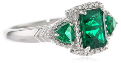 Sterling Silver Octagon and Trillion Created Emerald with Diamond Ring, Size 7