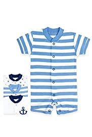 3 Pack Pure Cotton Anchor & Striped All-in-Ones