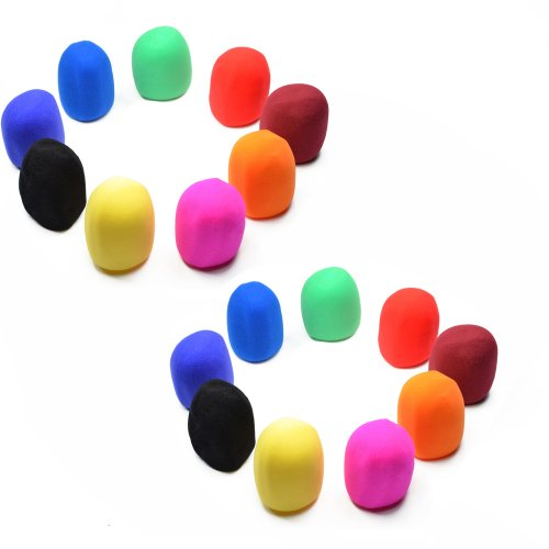 Bluecell Pack Of 18 Multi Color Handheld Stage Microphone Windscreen Foam Cover