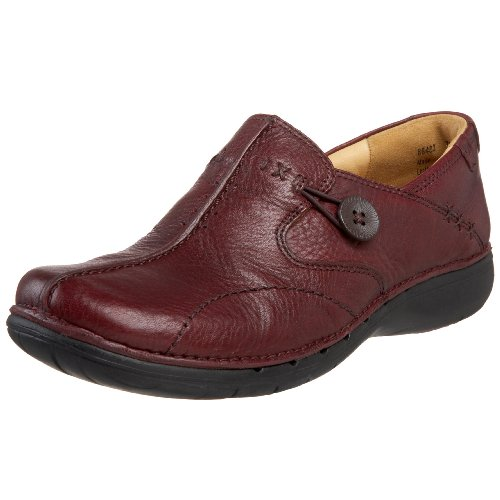 Clarks Unstructured Women's Un.Loop Slip-On,Burgundy,8 M US