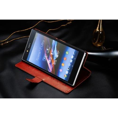 [F.G.S]Sony Xperia Z Ultra au SOL24 専用手帳型 PUレザーケース カードセット付き 本革に近い素材使用【日本正規輸入代理店品】