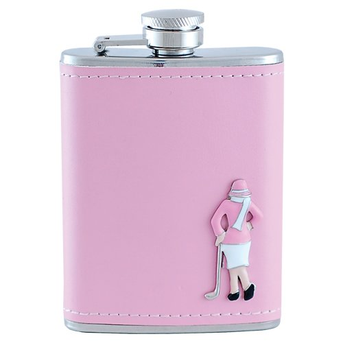Surprizeshop - 3oz Pink Hip Flask with Classic Lady Golfer