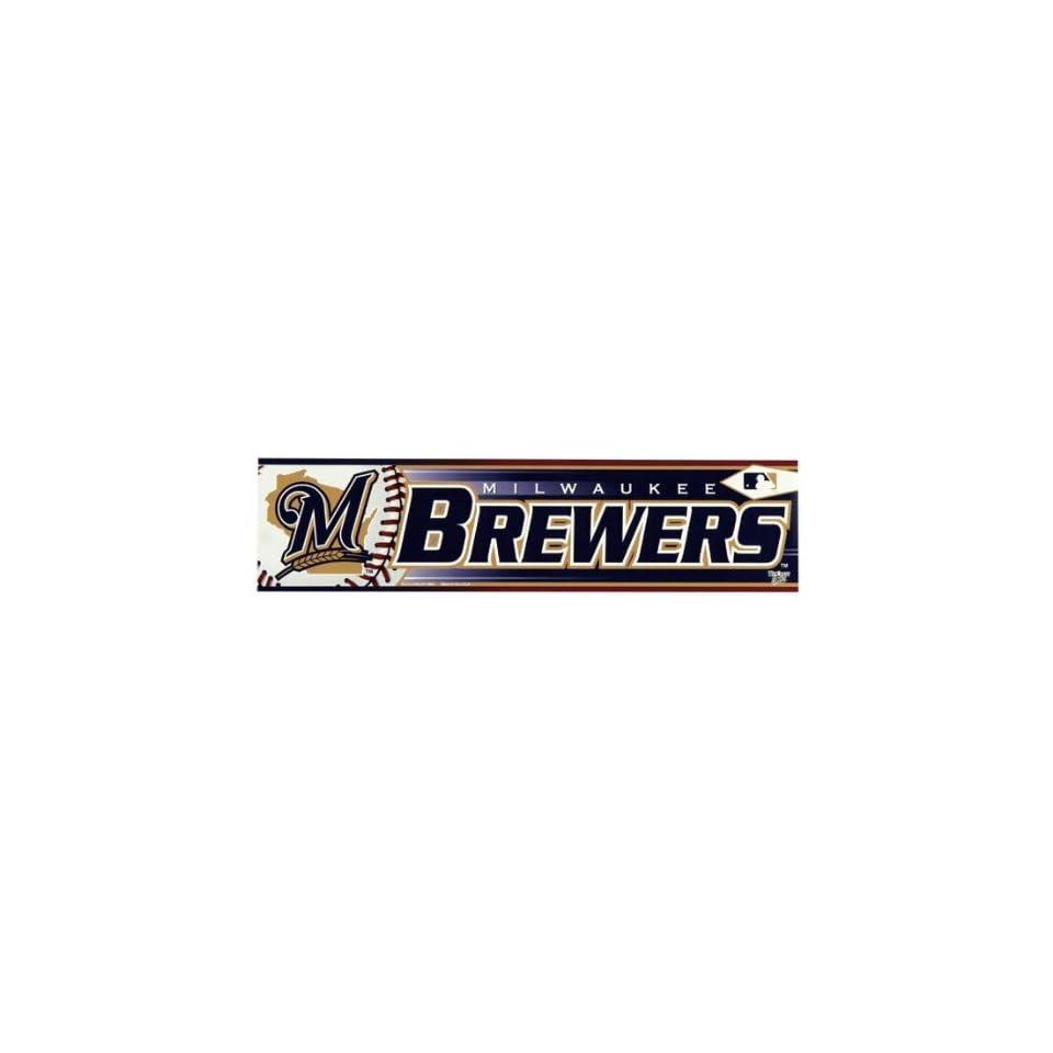 Milwaukee Brewers   Logo & Name Bumper Sticker MLB Pro Baseball