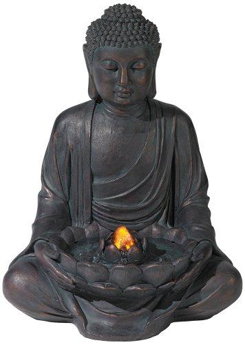 Meditating Aged Bronze Buddha LED Indoor/Outdoor Fountain