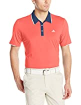 adidas Golf Men's Climacool Branded Performance Polo Shirt, Shock Red/Mineral Blue S, Medium