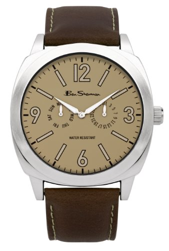 Ben Sherman Men's Quartz Watch with Beige Dial Analogue Display and Brown Leather Strap R895