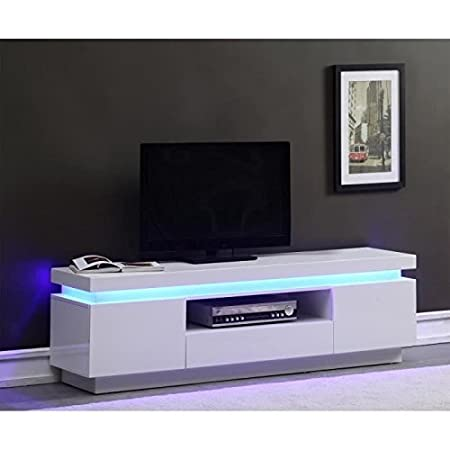 FLASH Meuble TV 165cm blanc laqué avec led bleue
