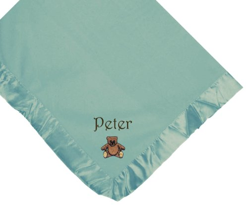 Teddy Bear Blue Soft Fleece Embroidered Personalized Baby Blanket - Custom Embroidery Green Thread front-1056149