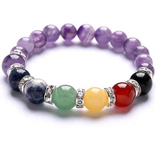 TGS Gems® Beautiful Energy Chakra Gemstone Reiki Healing Stretch Bracelet 7 Chakra Mixed Combination Amethyst SL013A4 (Bracelet With Gems compare prices)
