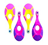 Baby Toddler Toothbrush 4 Pack - Trueocity - Soft Bristles - Teething Finger Handle Toothbrushes for 0-2 Years - Girl First Set (2 Pink/Purple & 2 Yellow/Pink) - BPA Free