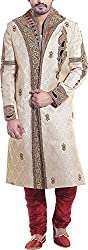 Amafhh Men's Silk Sherwani amfiw1262r_38 Cream 38