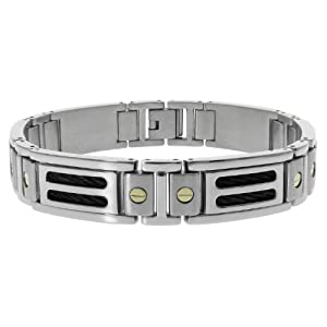 Men's Stainless Steel Black Cable Bracelet with 10k Yellow Gold Screws Accent, 8.25''